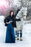Girl in blue on a White Horse in winter Stock Photos