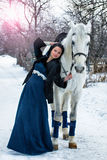 Girl in blue on a White Horse in winter Royalty Free Stock Photography