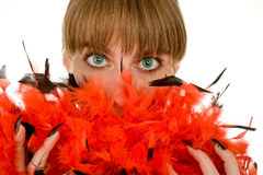 Girl with boa stock image