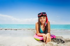 Girl on the board ready for swimming in sea Royalty Free Stock Image