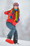 Girl on board in winter time Royalty Free Stock Image