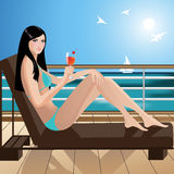Girl on board of a yacht. Illustration of a girl on board of a yacht, enjoying cocktail Stock Photo