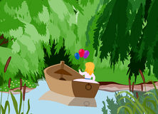 Girl boat. Vector illustration of the girl in a boat in the middle of lake against dark Royalty Free Stock Images
