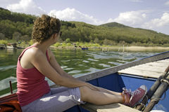 Girl on boat Royalty Free Stock Photography