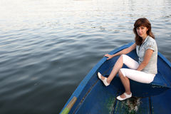 Girl on the boat Royalty Free Stock Photos