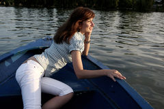 Girl on a boat Royalty Free Stock Images