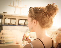 Girl on the boat Royalty Free Stock Photography