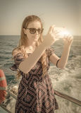 Girl on the boat Royalty Free Stock Photo
