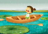 Girl and boat. Illustration of girl and boat in a beautiful nature Royalty Free Stock Photography