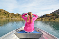 Girl on the boat royalty free stock image