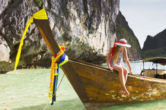 Girl with on a boat at a resort Stock Image