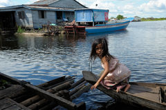 Girl on boat Tonle Sap Lake Cambodia Royalty Free Stock Images