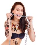 Girl with body art. Royalty Free Stock Photos