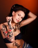 Girl with body art. Stock Image