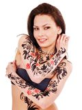 Girl with body art. Young woman with body art . Isolated Royalty Free Stock Photo