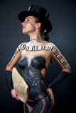 Girl,body-art. Female panted girl body art Royalty Free Stock Photo
