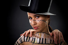 Girl,body-art. Female panted girl body art Stock Photos