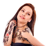Girl with body art Royalty Free Stock Photos