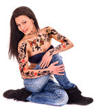 Girl with body art Royalty Free Stock Images