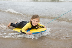 Girl Bodyboarding Royalty Free Stock Images