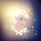 Girl with bokeh. Girl stylized profile design with bokeh lights,  illustration Stock Photos