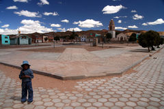Girl in a bolivian village Stock Photos