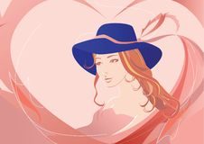 Girl with bonnet. Background - pink heart royalty free illustration