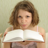 Girl with book Royalty Free Stock Images