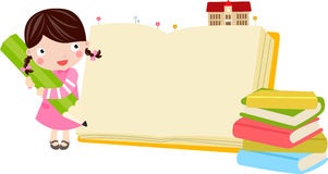 Girl and book royalty free illustration