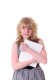 Girl with book. Pretty young girl with white book, isolated on white Stock Photography