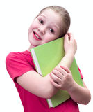 The girl with the book. On white Royalty Free Stock Image
