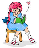 Girl with a book. Cute girl reading a book Royalty Free Stock Photography