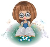 A girl with a book Stock Image