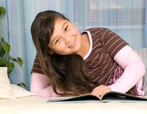 Girl with book. Happy girl-teenager with book Stock Image