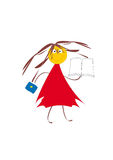 Girl with a book. Merry girl in red dress with the dark blue handbag. White background. Abstract picture Stock Images