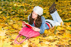 Girl with book in autumn park Stock Images