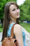 Girl with book bag. Schoolgirl Outdoor with book bag. Back to School Royalty Free Stock Images