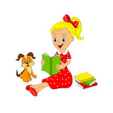 Girl with book and dog Stock Photo