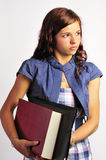Girl with Book and Folder Stock Image