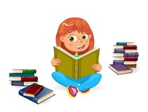 Happy girl reading book. Girl with book in hands on a white background. Girl reading a book. Girl sitting among books Stock Images
