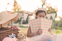 Girl with a book royalty free stock photography