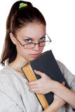 Girl with the book isolated on a white Stock Images