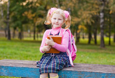 Girl with book outdoor Stock Photography