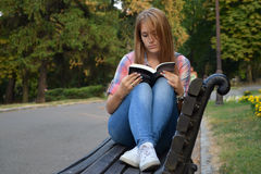 The girl with the book Stock Images