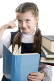 Girl with the book thinks Stock Photos