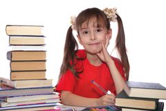 The girl with books stock images