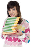 Girl with a books Stock Photos