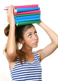 The girl with books Stock Photos