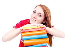 Girl on books Royalty Free Stock Photo