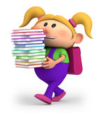 Girl with books. Cute little cartoon girl carrying books - high quality 3d illustration Royalty Free Stock Photography